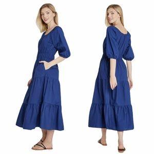 A new day Puff sleeve blue tier dress midi length